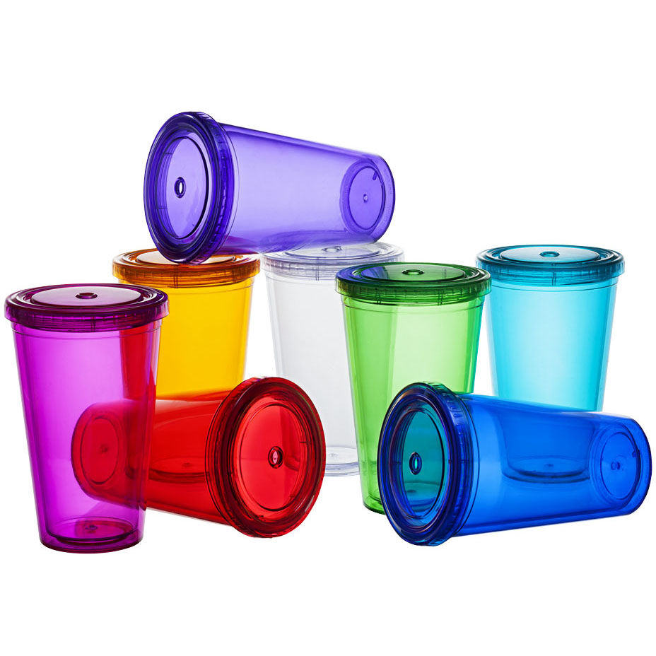Transparent Plastic Cup With Lid & Straw