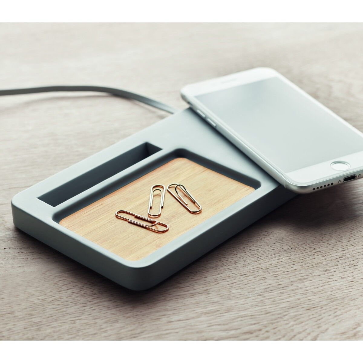 Cement Wireless Charger Desk Tidy
