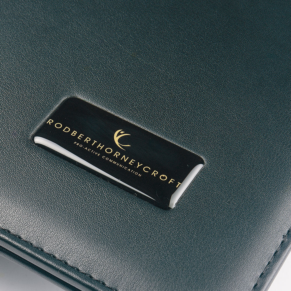 Bespoke Leather Zip Folder A4 - Resin Dome Branding