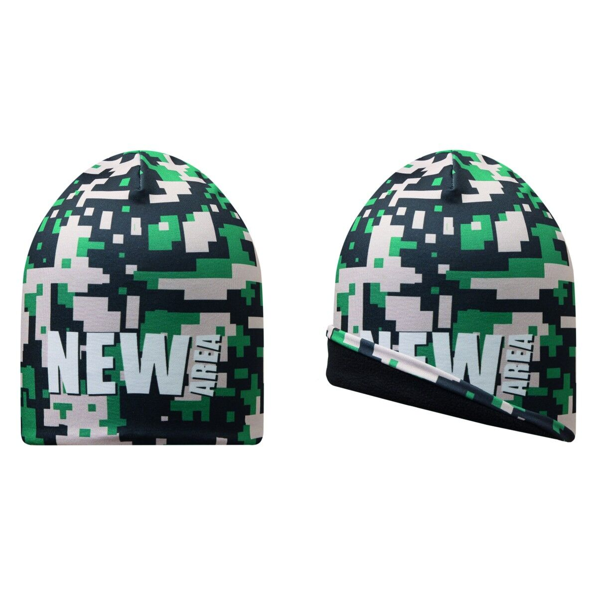 All Over Printed Beanie Hat Fleece Lining