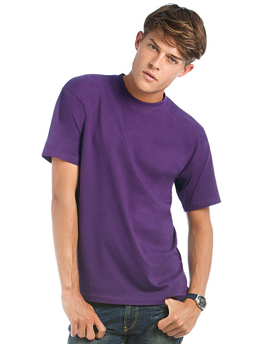 B&C Exact 190 Crew Neck T-shirts Men (Purple)