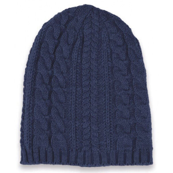 Long knitted beanie hat - navy