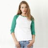 Bella & Canvas Ladies Sleeve Contrast T-shirt White / Kelly Green
