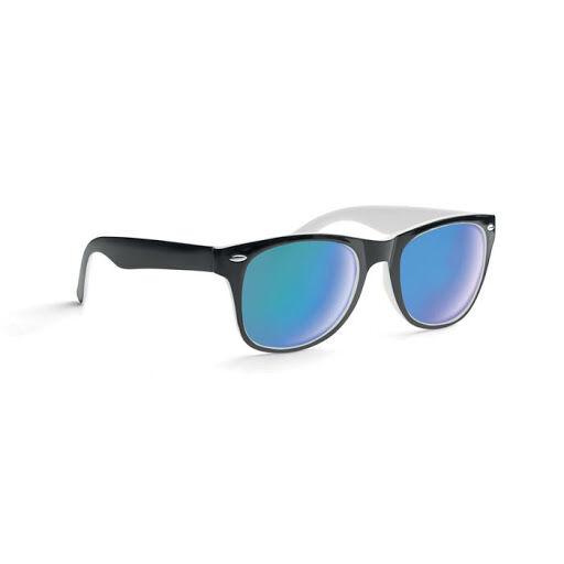 Black and white mirror lens sunglasses