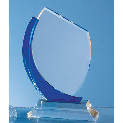 20cm Blue Curve Optical Crystal Flat Engraved Award