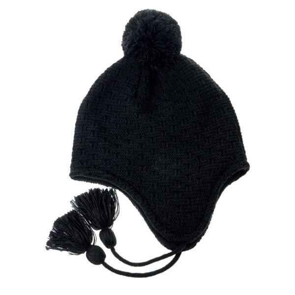 Bobble beanie hat - black