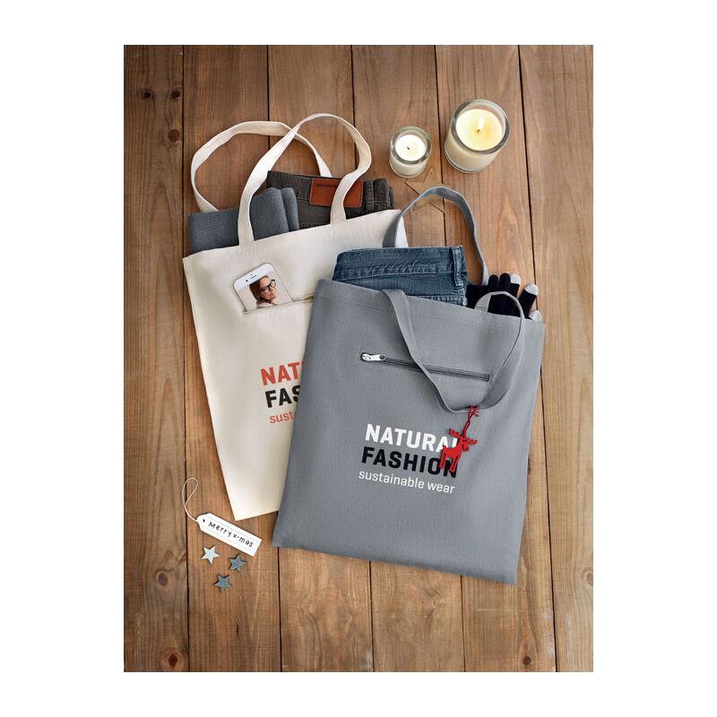 Organic Canvas Shopping Bag (Grey Natural)