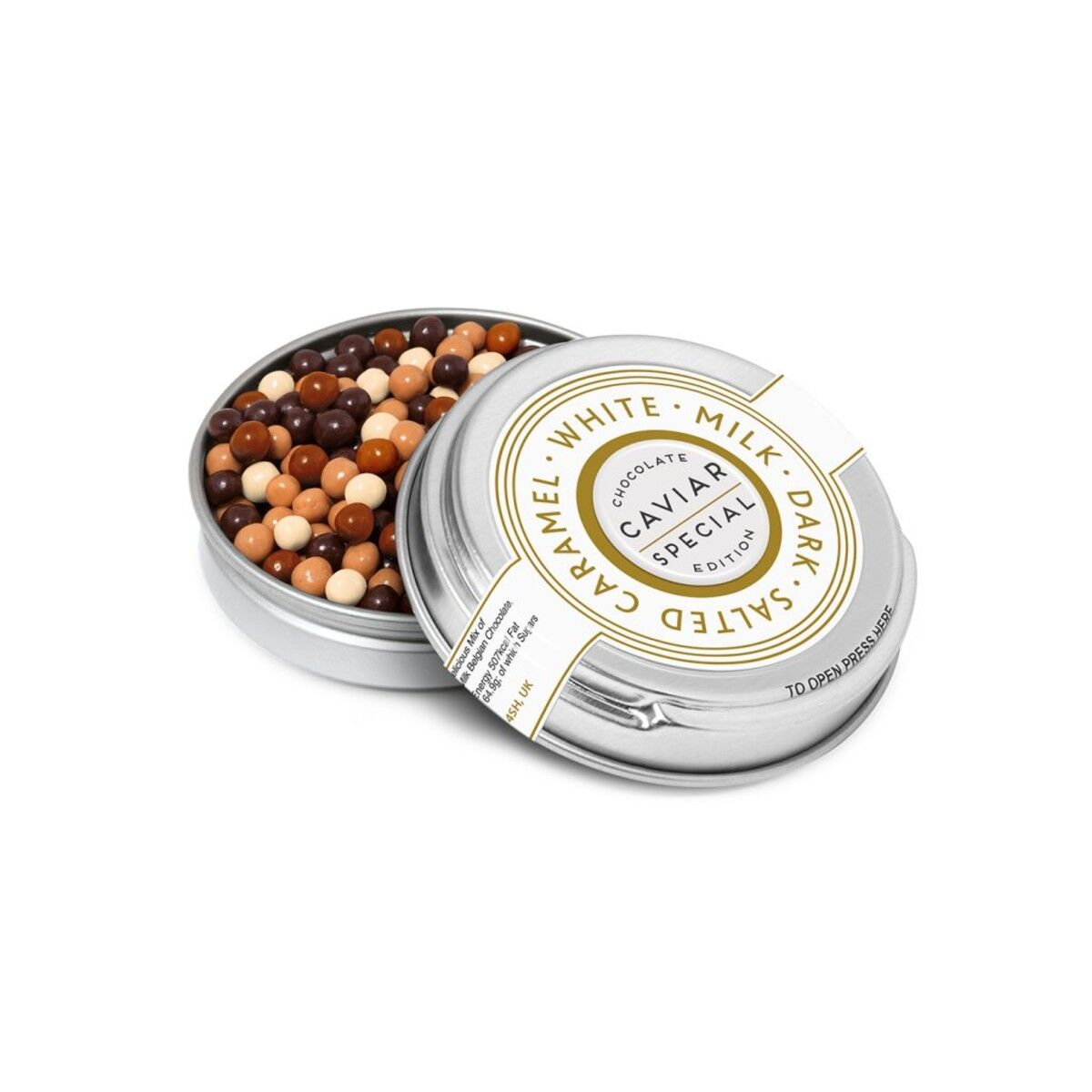 Chocolate Pearls in Silver Tin