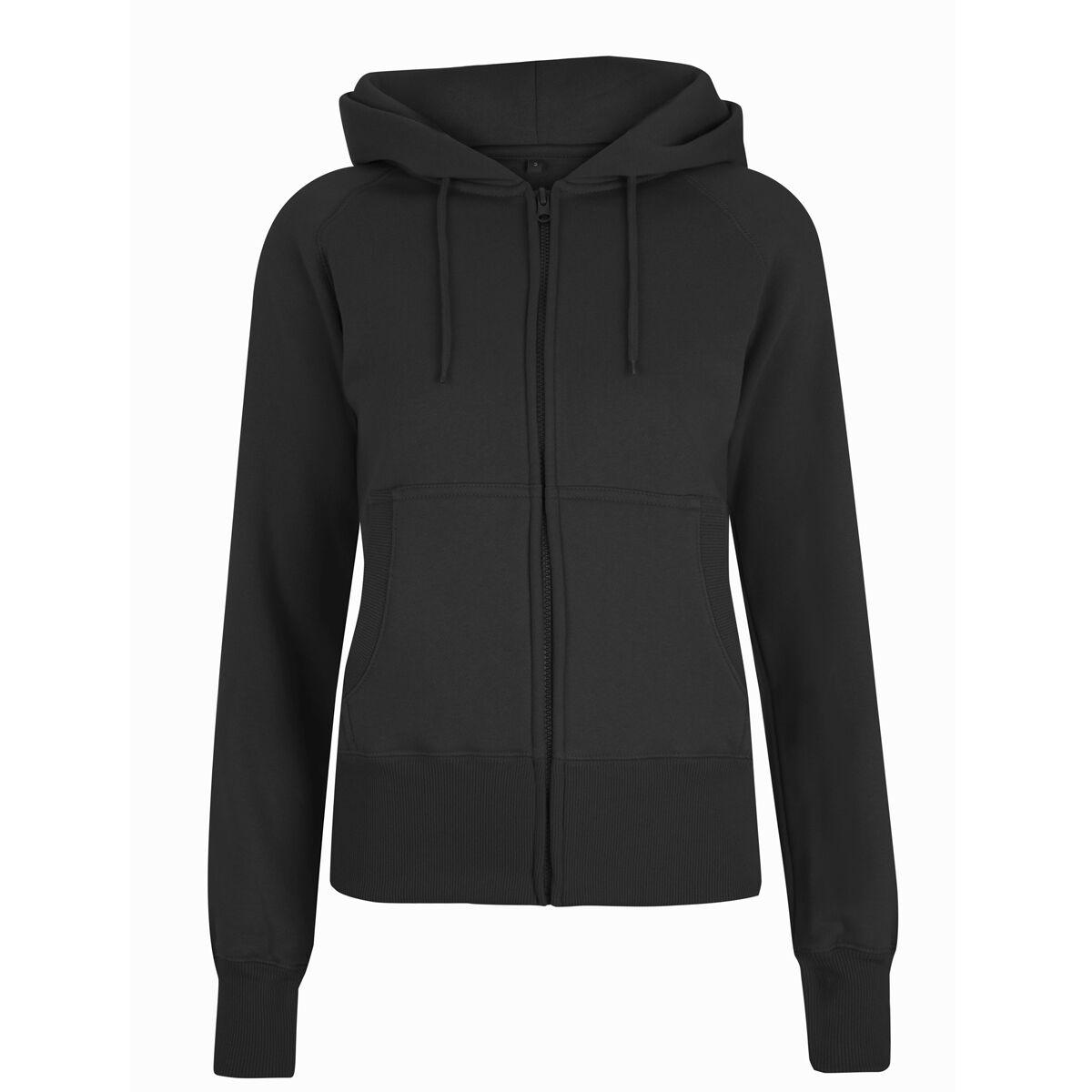Women's Zip-Through Hooded Sweatshirt -Black