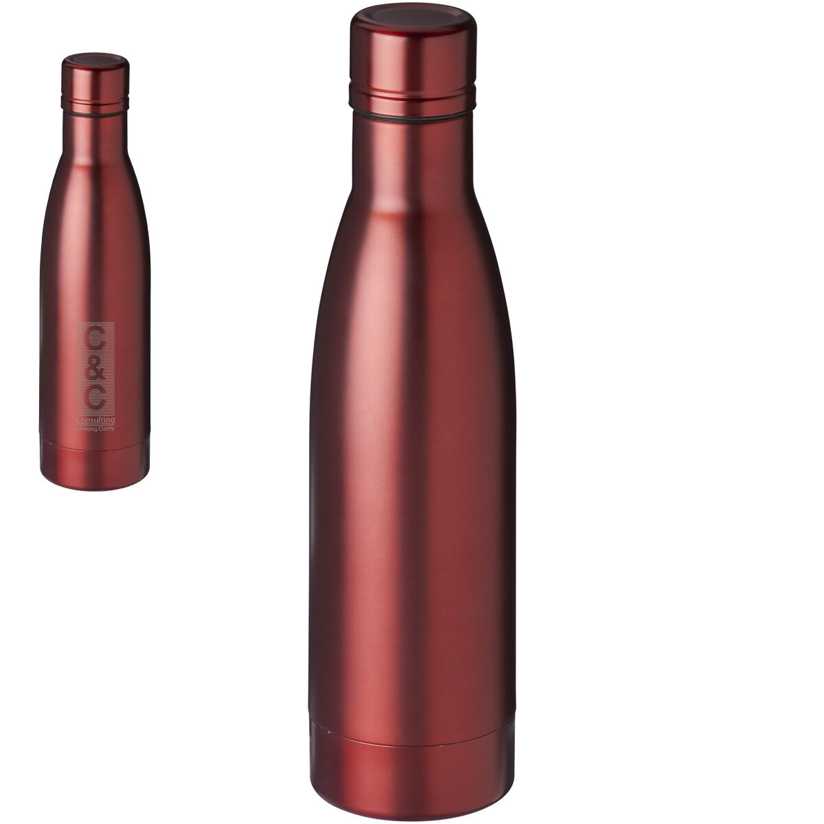 SteelVacuum Bottle copper lined Red