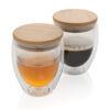 Double wall glass mug with bamboo lid