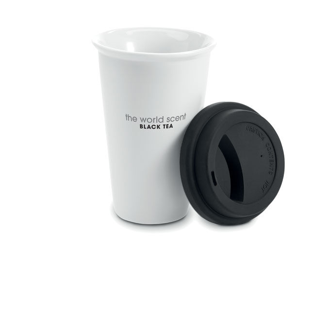 Double Walled Ceramic Coffee Mug With Silicone Lid