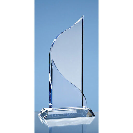 25.5cm Crystal Flat Mounted Award