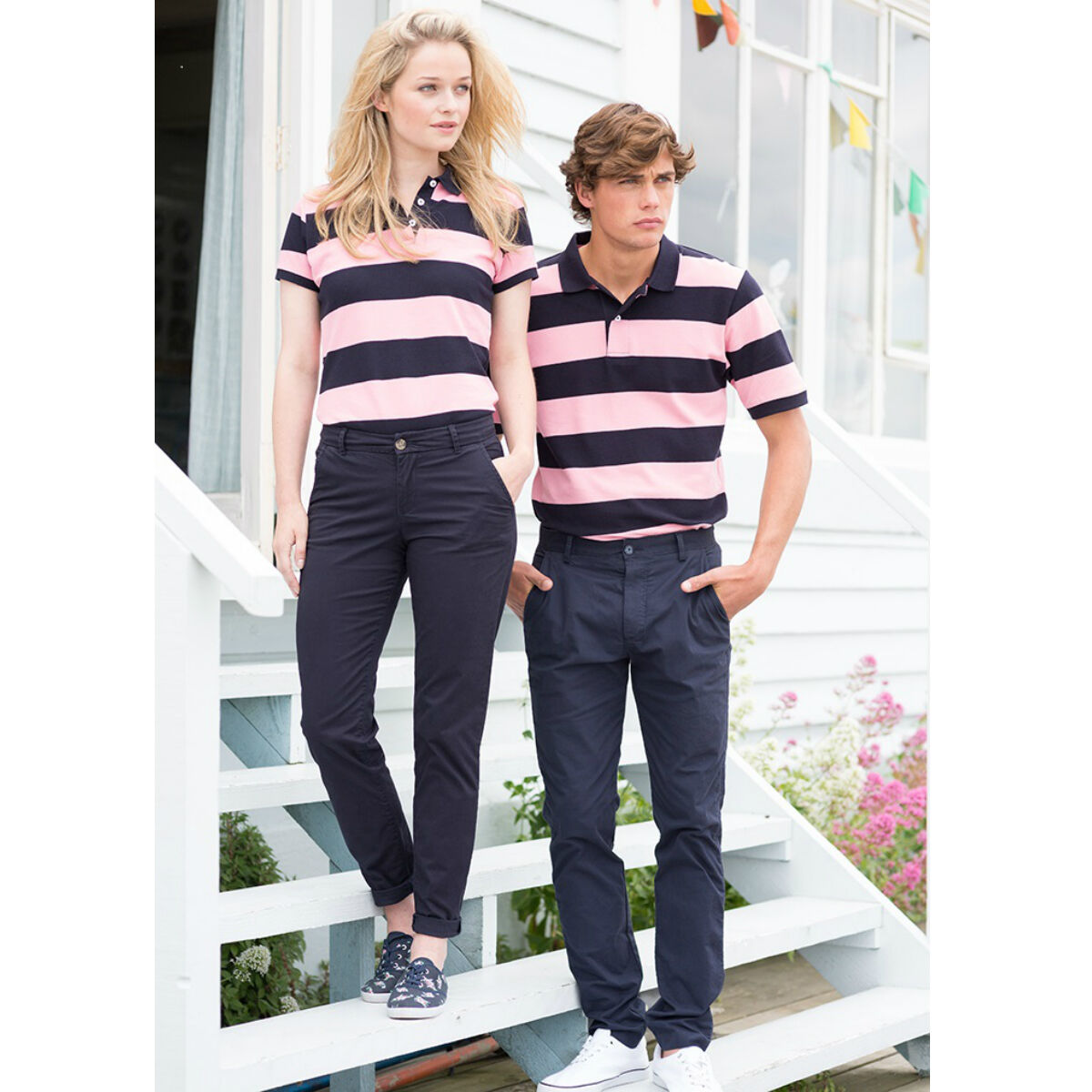 Front Row Polo Shirt (Pink/ Navy)