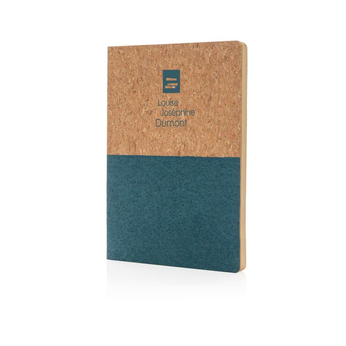 Half colour cork notebook - Blue