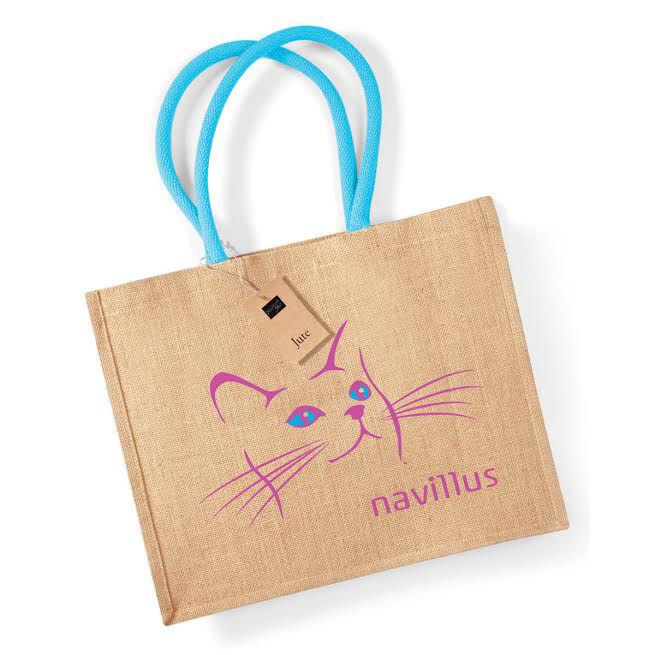 Printed Jute Bags Blue Handles
