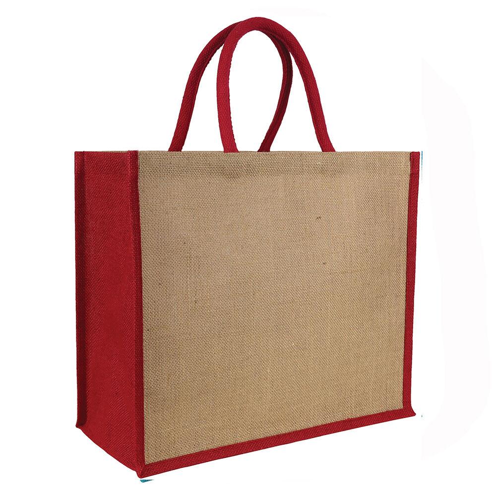 Laminated Jute Tote Bag Red