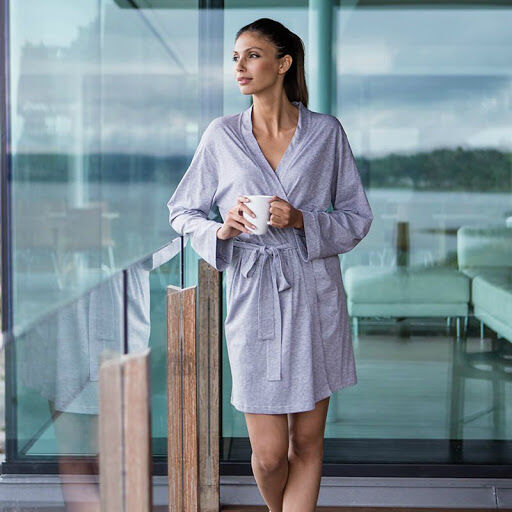 Women's Hotel Wrap Robe (Heather Grey)