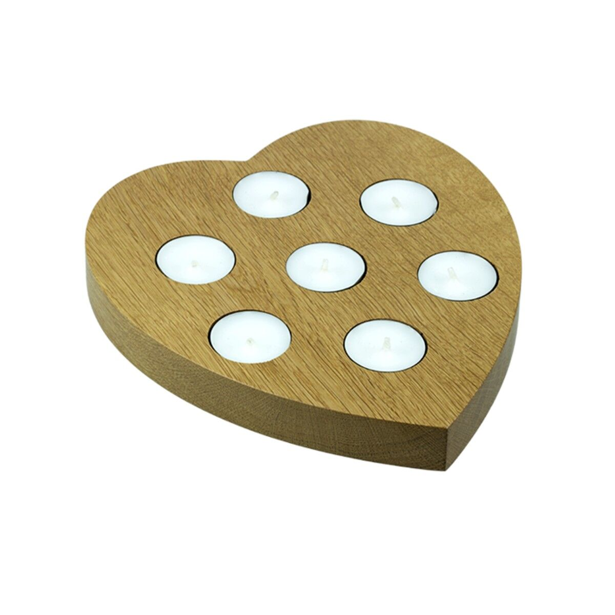 Large oak heart tea light holder