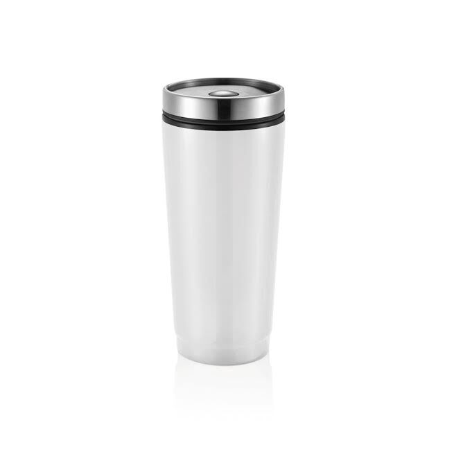 Travel Flask in Stainless Steel - White