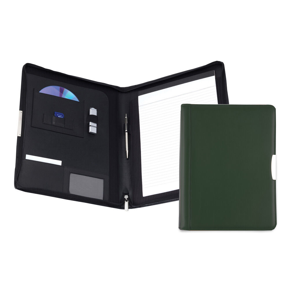 Personalised Leather Conference Folder - Dark Green