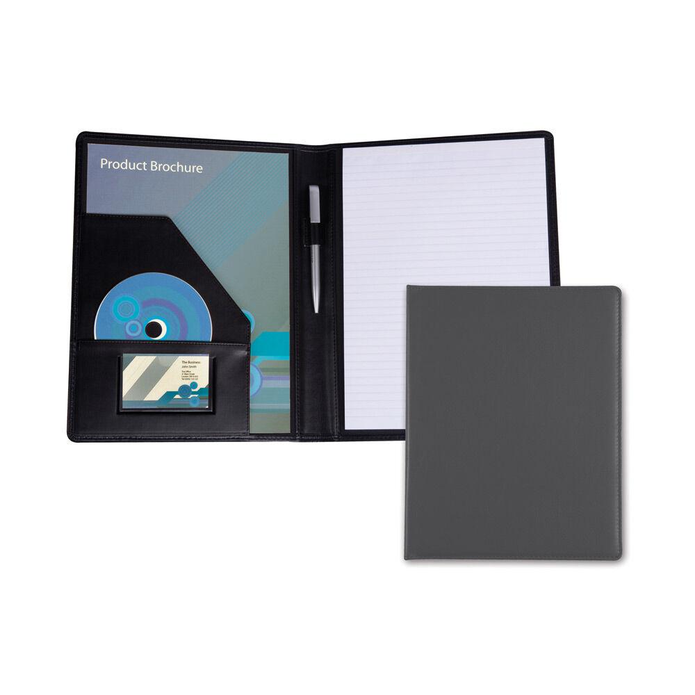 Leather Conference Folder for Branding - Grey