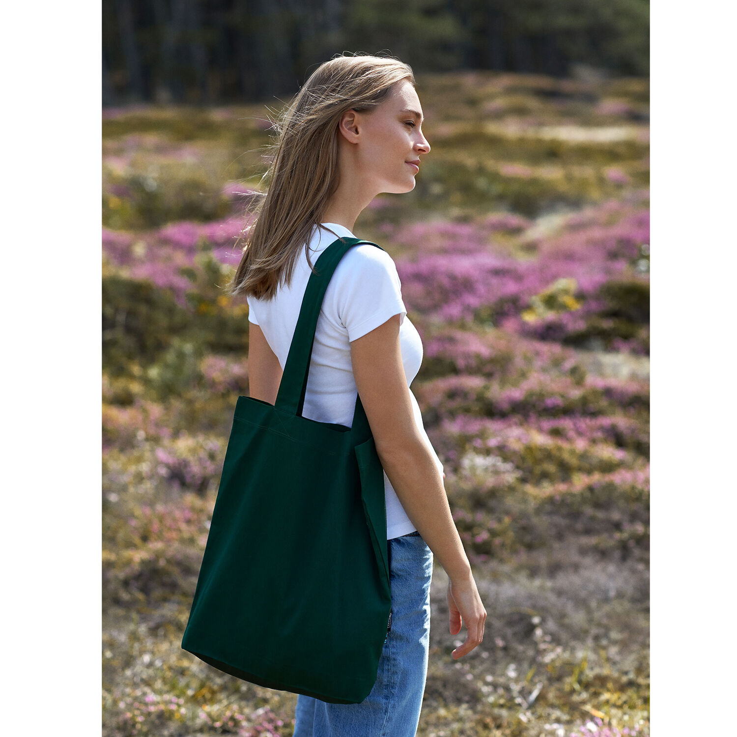 Neutral Brand Organic Twill Tote Bag in bottle green