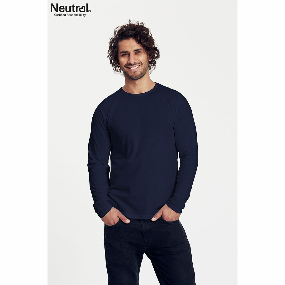 Neutral Long Sleeve Organic Men's T-shirt Navy