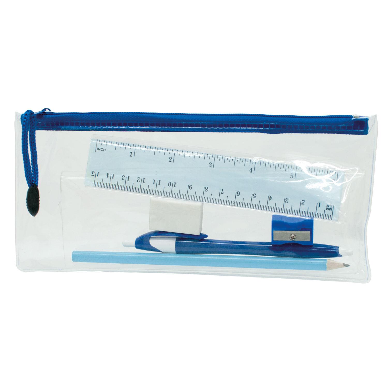 Transparent Pencil Case Sets - Blue