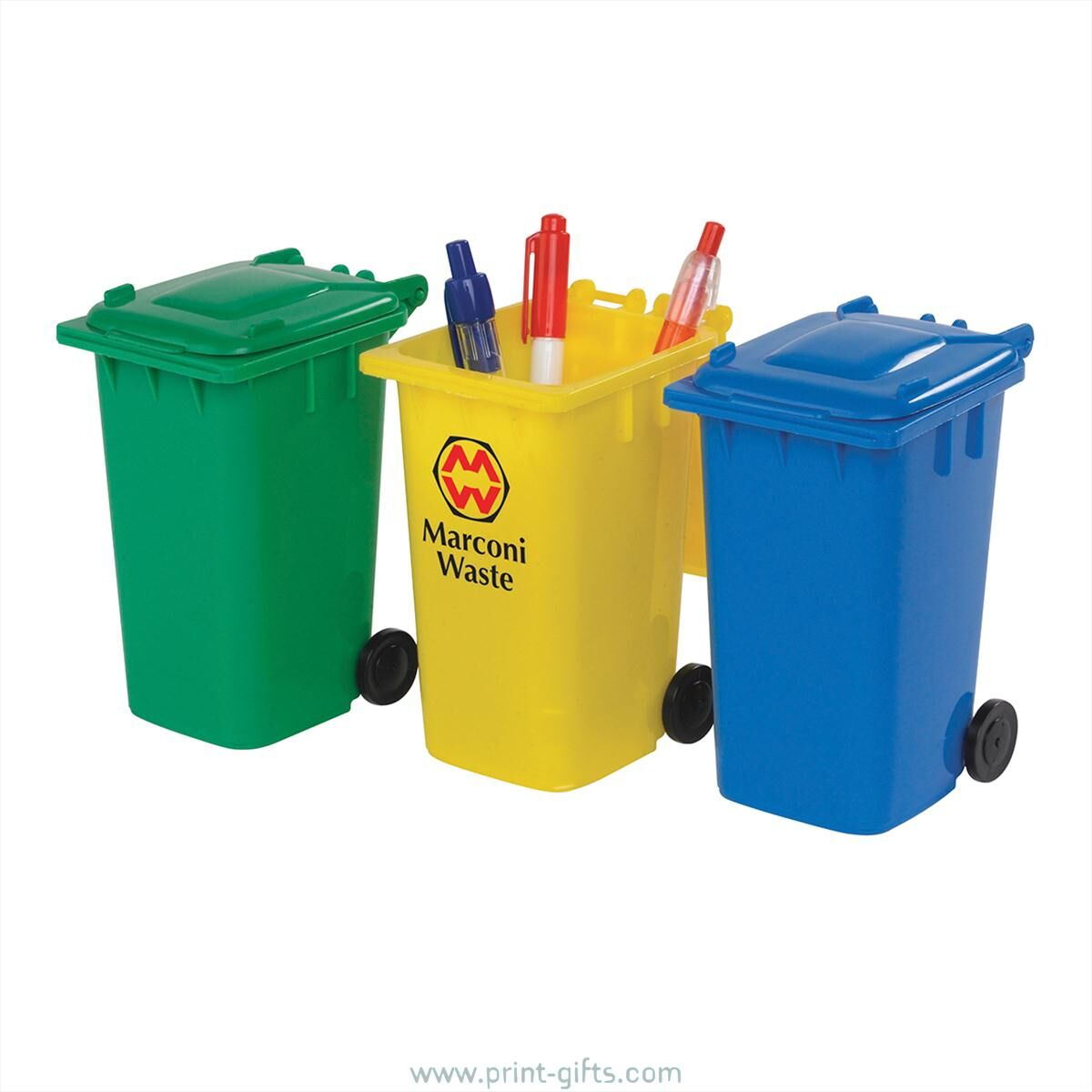 Eco Wheelie Bin Pencil Sharpeners - Green, Blue, Yellow