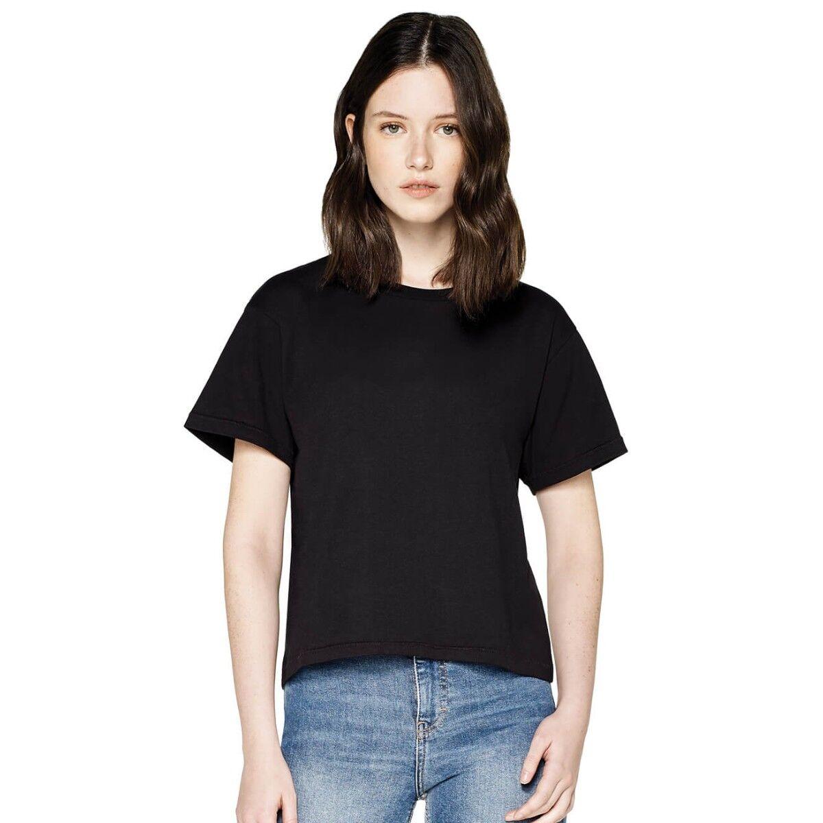 Ladies Earth Positive Short Loose Fit T-shirt -  Black