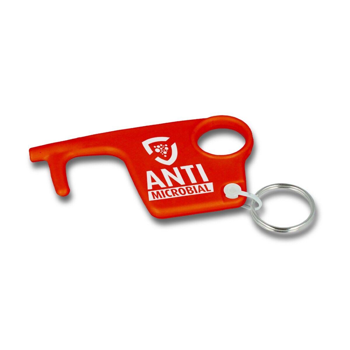 Antibac Recycled Staysafe Hook Keyring - Red