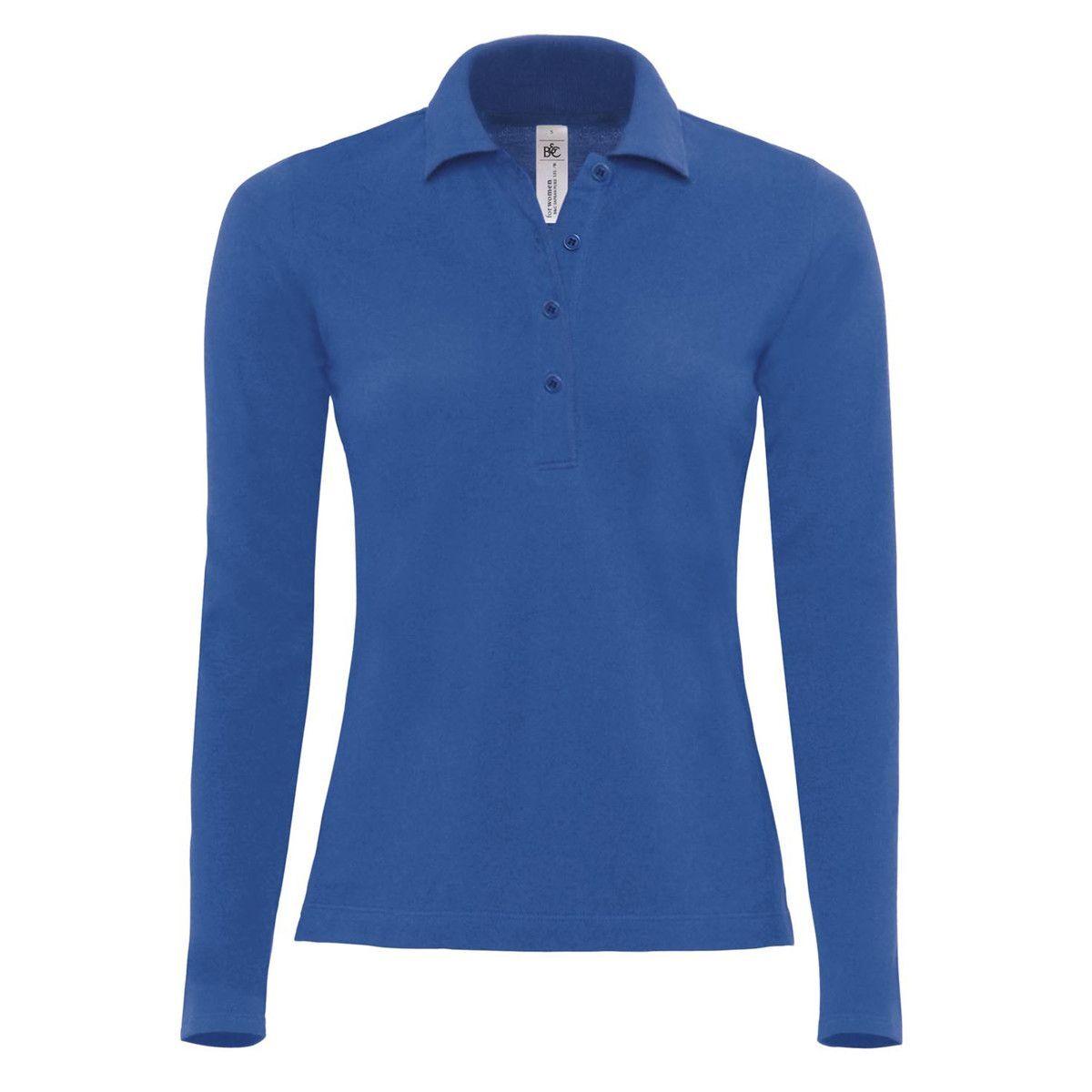 B&C Safran Long Sleeve Piqué Polo Shirts Womens (Royal)