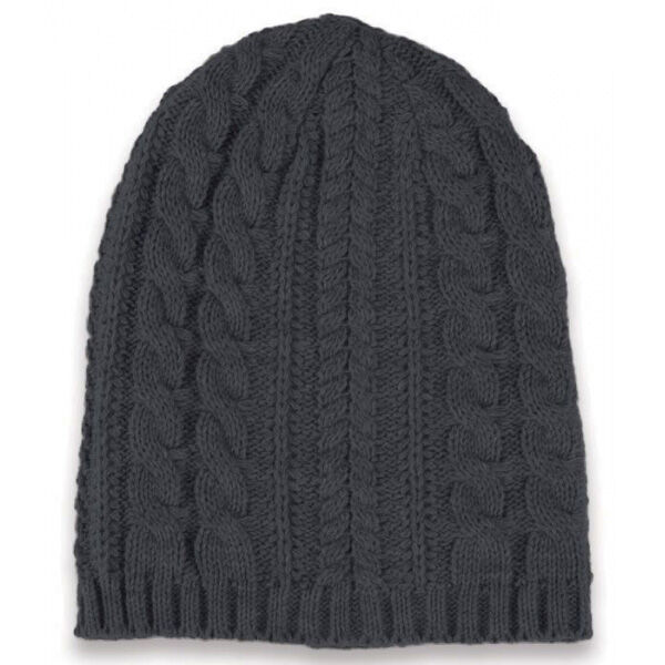 Long knitted beanie hat - grey