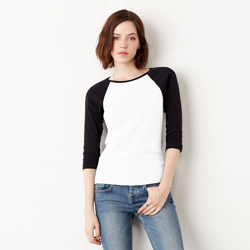Bella & Canvas Ladies Sleeve Contrast T-shirt White / Black