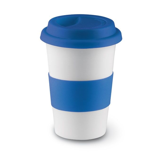 Ceramic Coffee Mug With Silicone Lid Blue