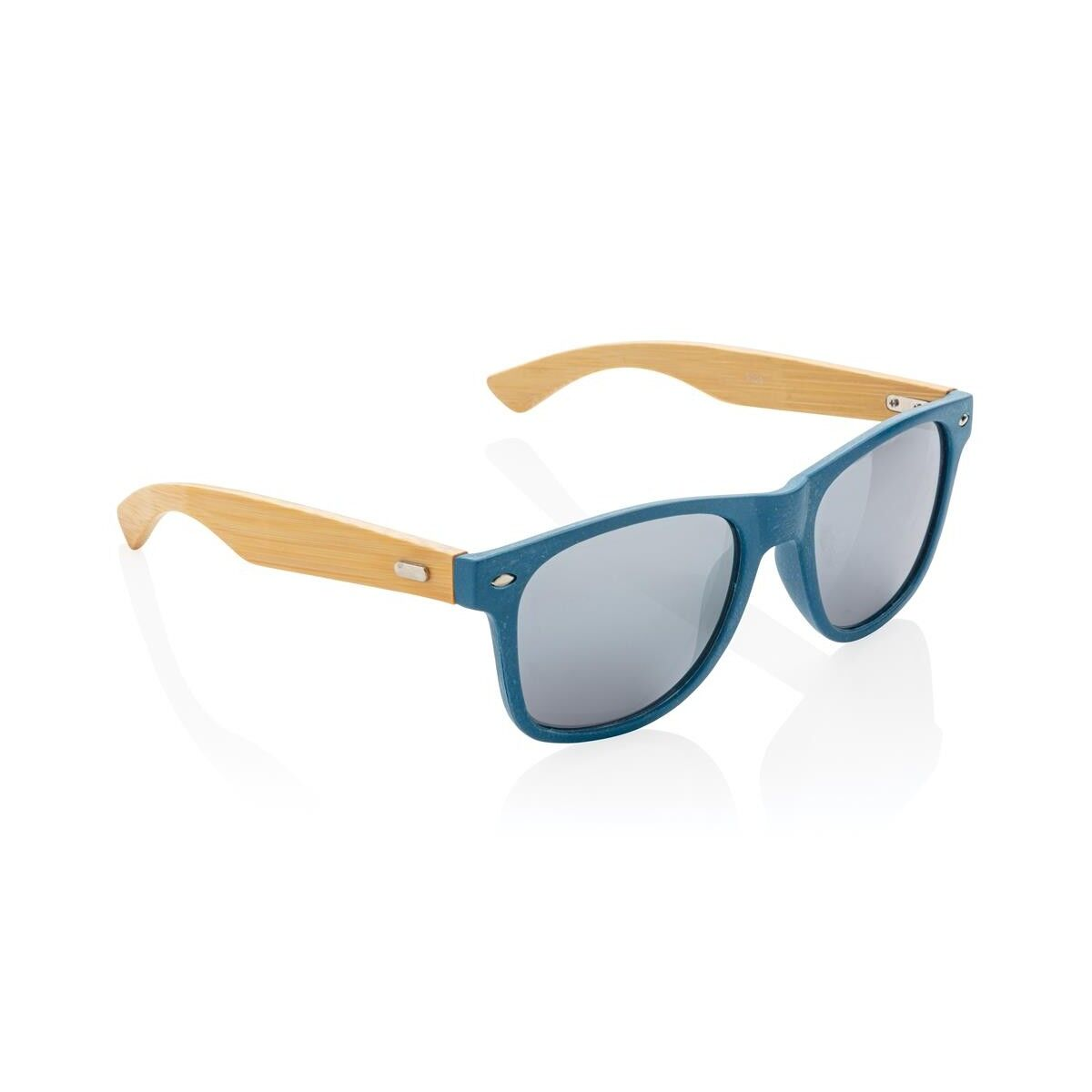 Colour Wheat Straw & Bamboo Sunglasses - Blue