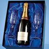 Engraved Crystal Champagne Flutes & Champagne Set