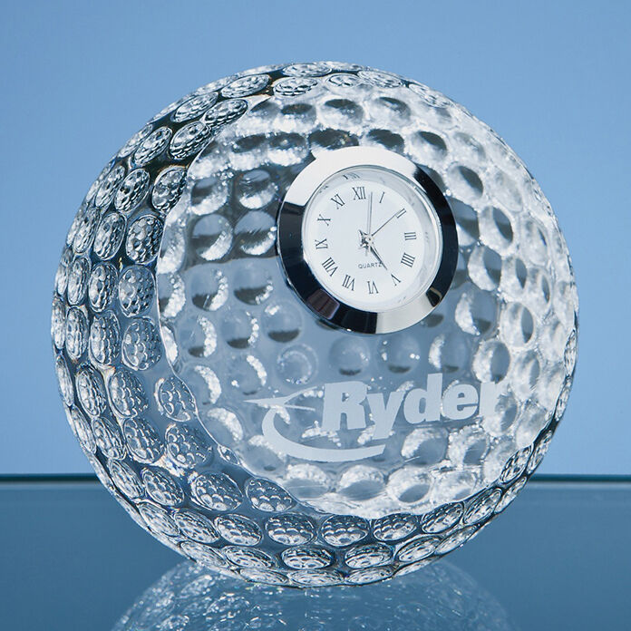 Engraved Crystal Golf Ball with Clock
