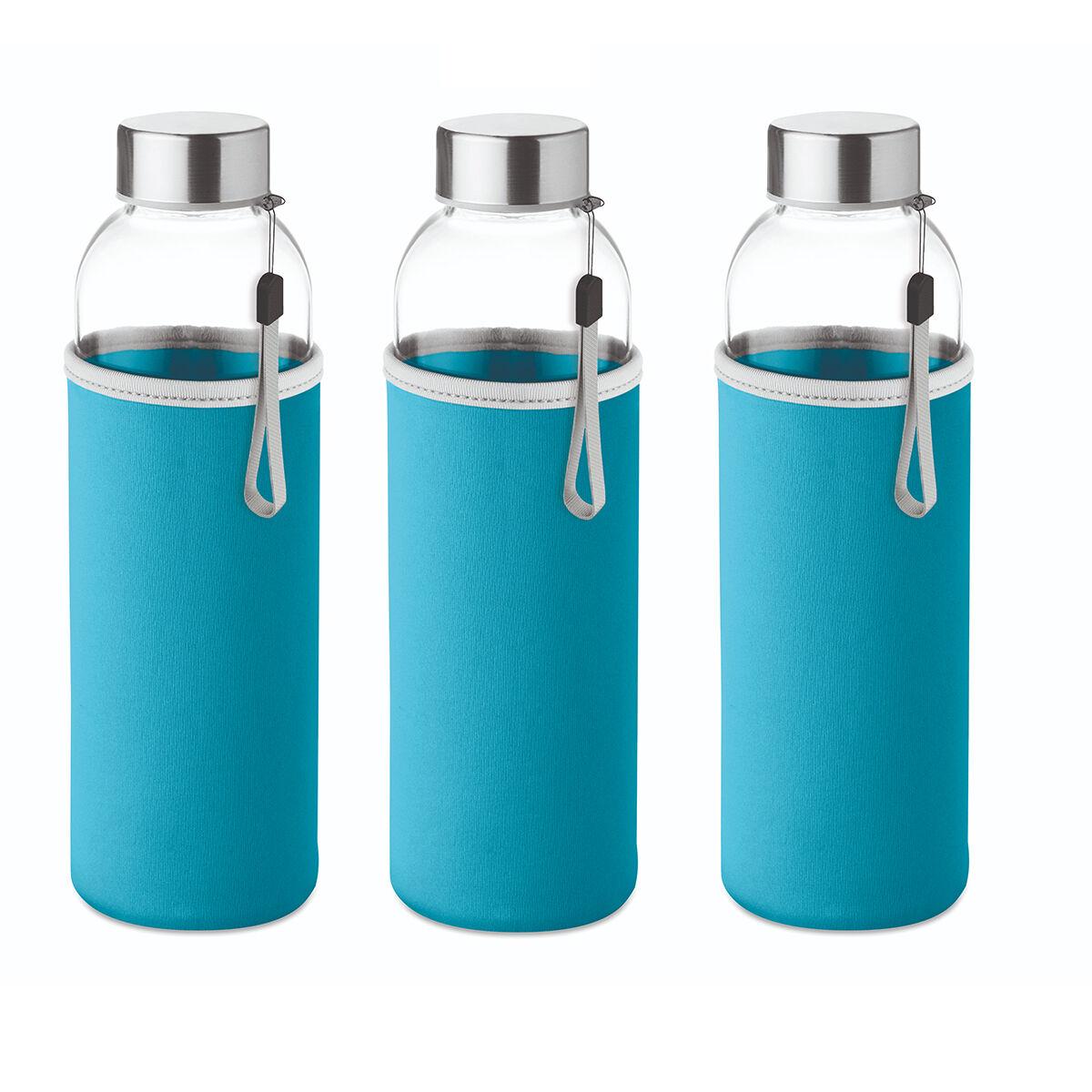 Slim glass bottle 500 ml with coloured neoprene sleeve blue