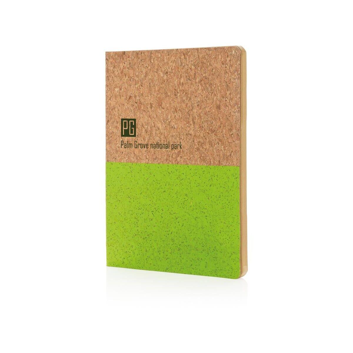 Half colour cork notebook - Green