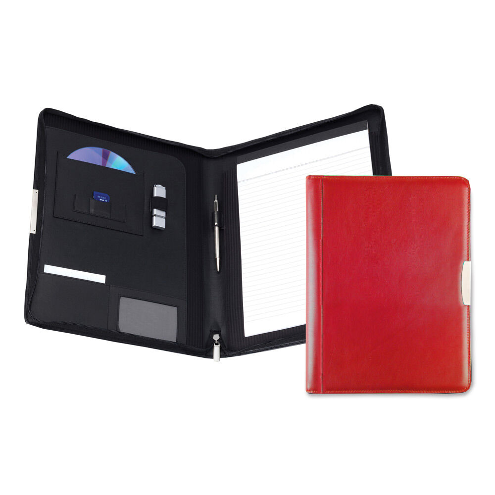 Personalised Leather Conference Folder - Red