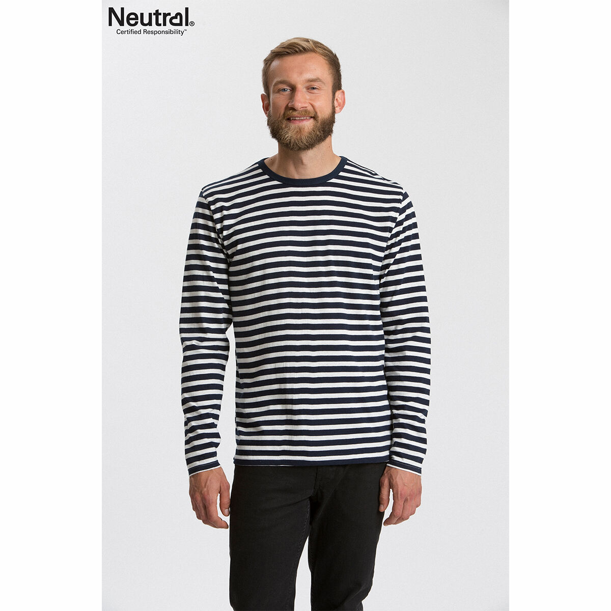 Neutral Long Sleeve Organic Men's T-shirt Striped