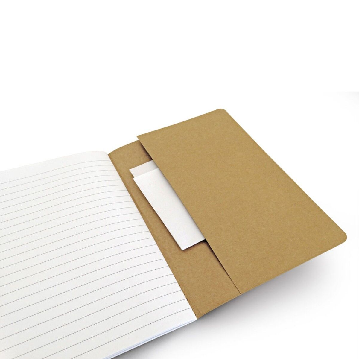 Notepad with recycled paper inside pocket
