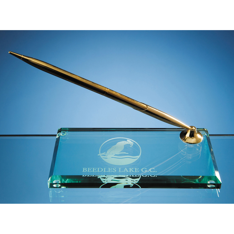 15 cm Jade Glass Pen Holder