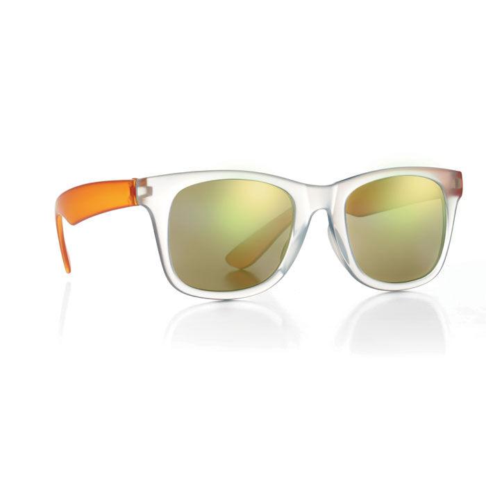 Orange mirror lens sunglasses