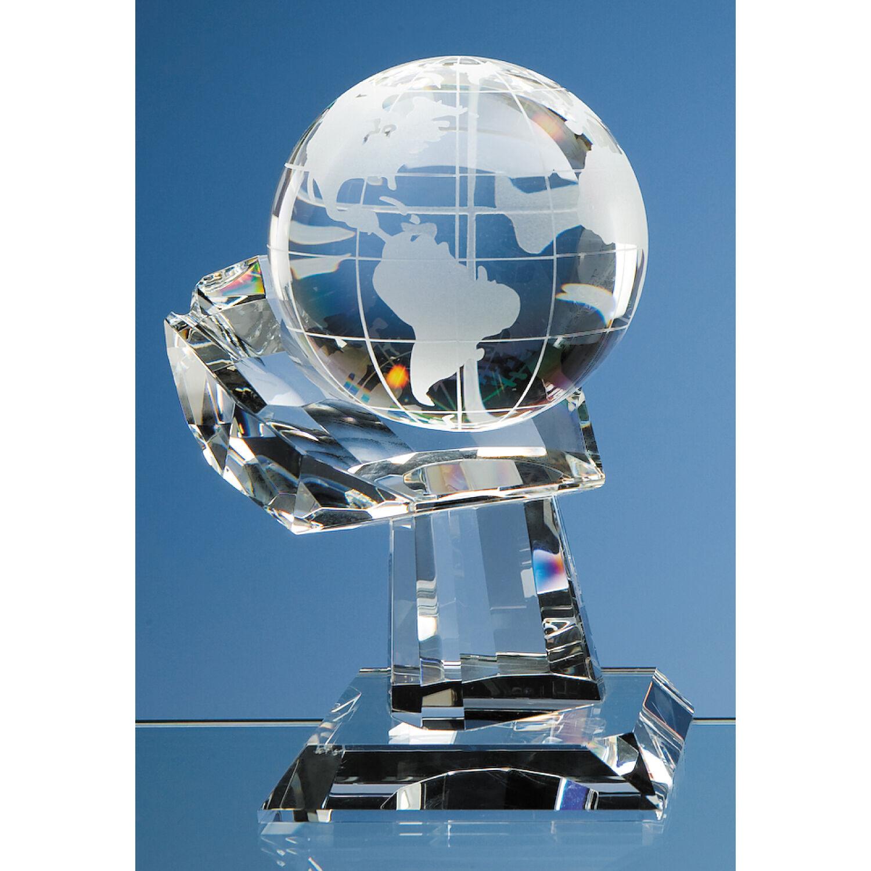 Optical Crystal Globe & Hand Award