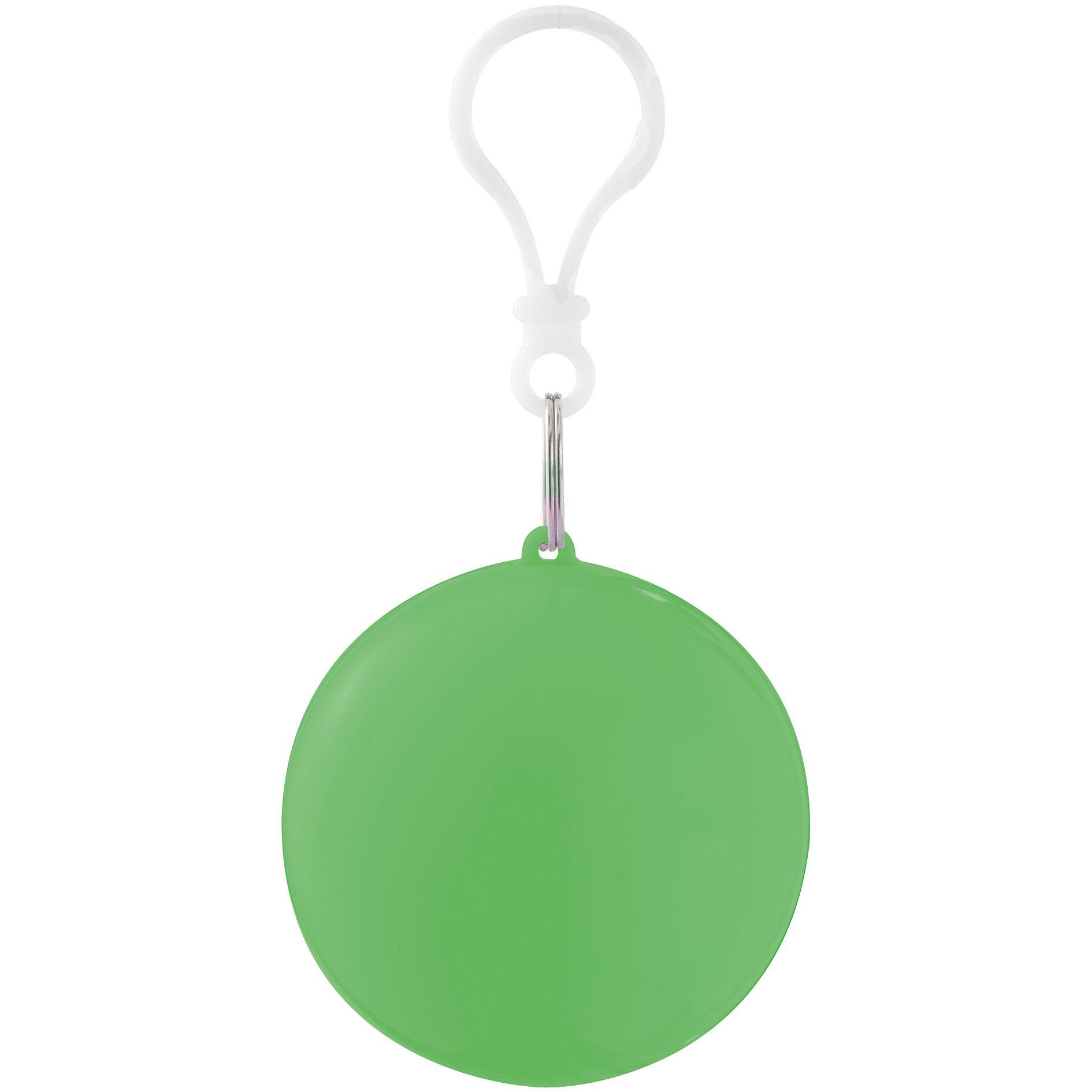 Printed Keyring Rain Poncho Green