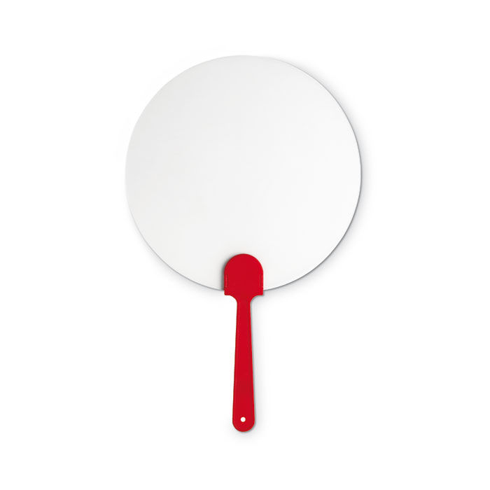 Round plastic hand fan - red