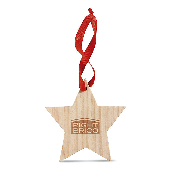 Wooden Christmas Tree Decorations to Engrave or Print - Star